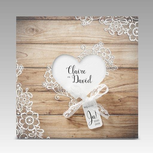 huwelijksuitnodigingen hout hart