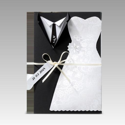 huwelijksuitnodigingen trouwkleed