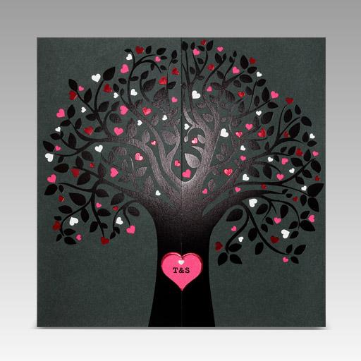 huwelijksuitnodigingen hartboom